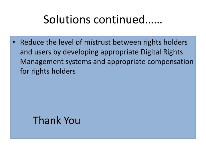 Solutions continued……