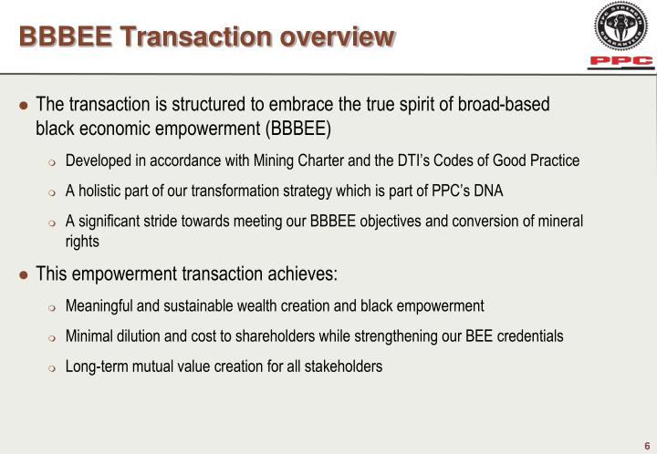 BBBEE Transaction overview