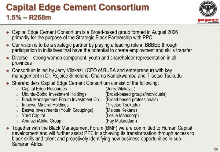 Capital Edge Cement Consortium