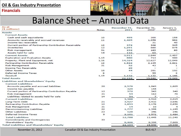 Balance Sheet – Annual Data