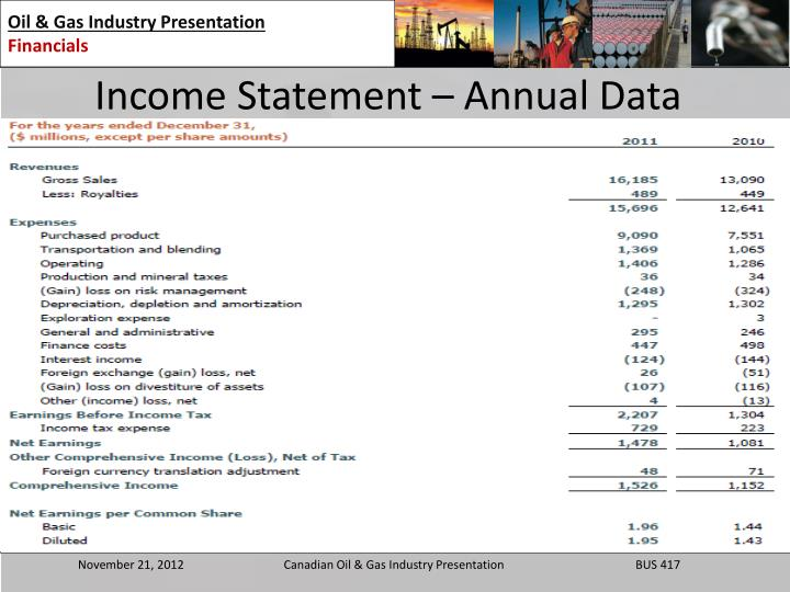 Income Statement – Annual Data