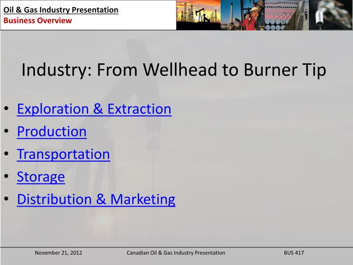 Industry: From Wellhead to Burner Tip