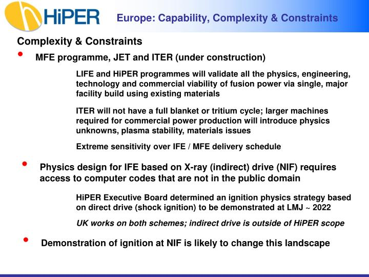 Europe: Capability, Complexity & Constraints