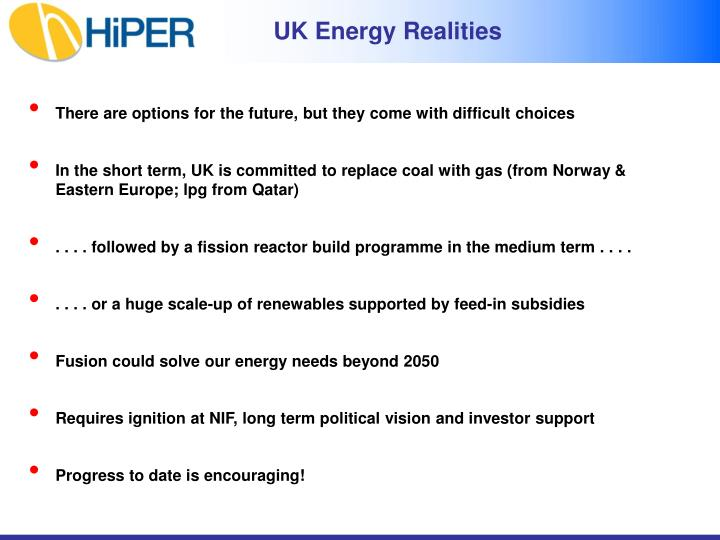 UK Energy Realities