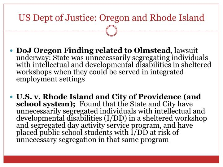 US Dept of Justice: Oregon and Rhode Island