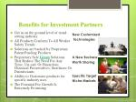 benefits for investment partners