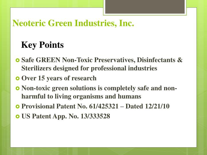 Neoteric green industries inc
