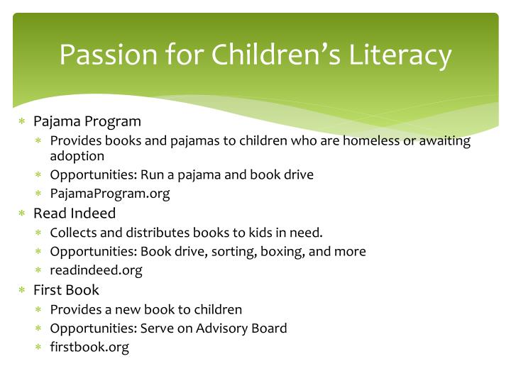 Passion for Children's Literacy