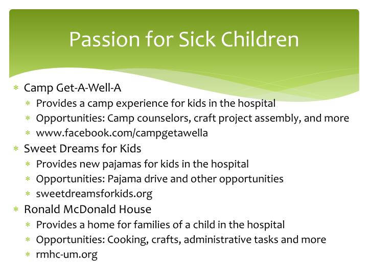 Passion for Sick Children