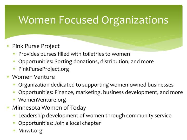 Women Focused Organizations