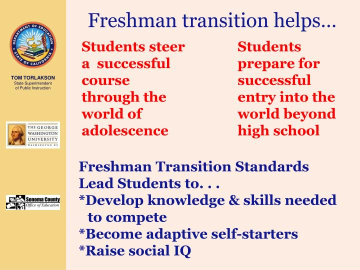 Freshman transition helps…