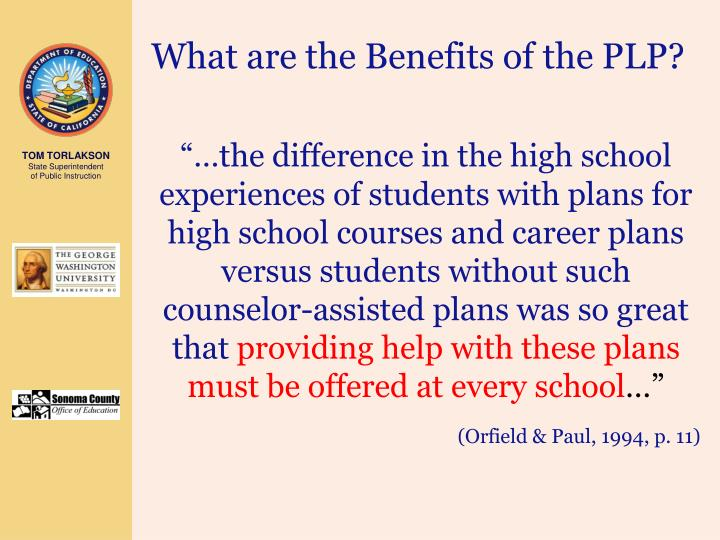 What are the Benefits of the PLP?