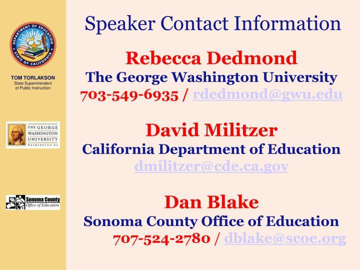 Speaker Contact Information