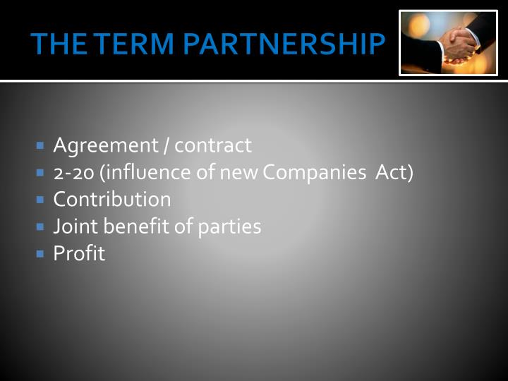 The term partnership1