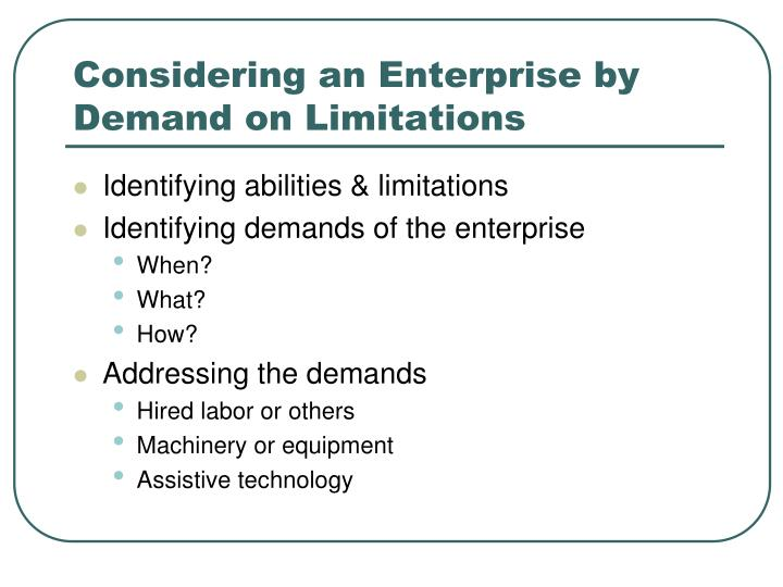 Considering an Enterprise by