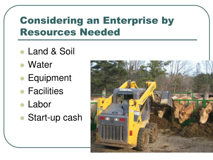 Considering an Enterprise by Resources Needed