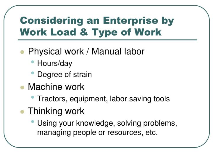 Considering an Enterprise by Work Load & Type of Work