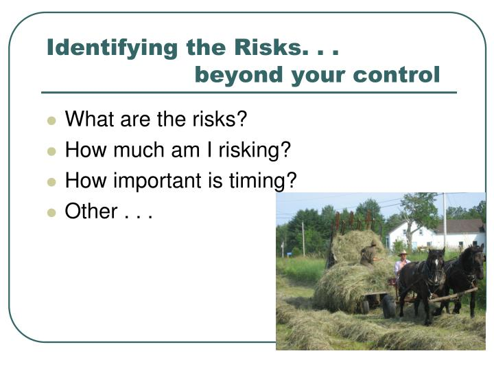Identifying the Risks. . .