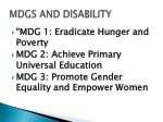 mdgs and disability