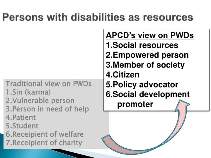 Persons with disabilities as resources