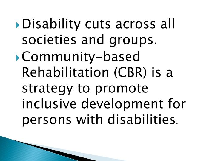Disability cuts across all societies and groups
