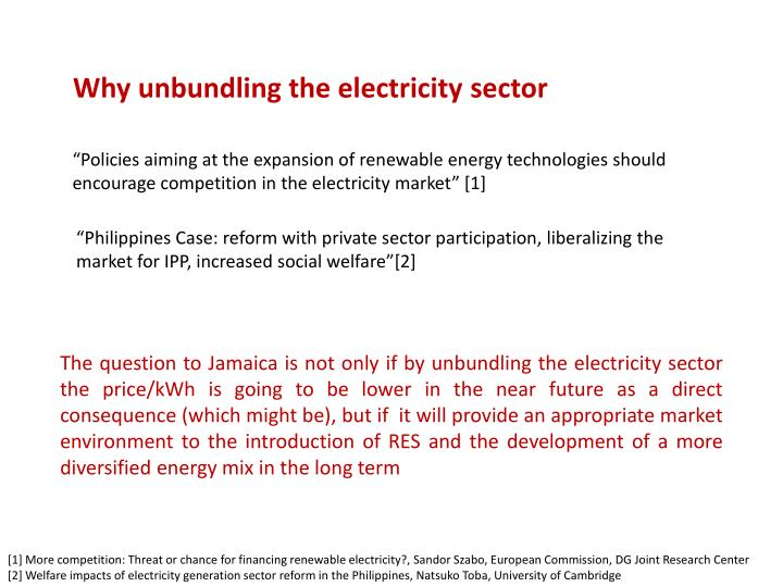 Why unbundling the electricity sector