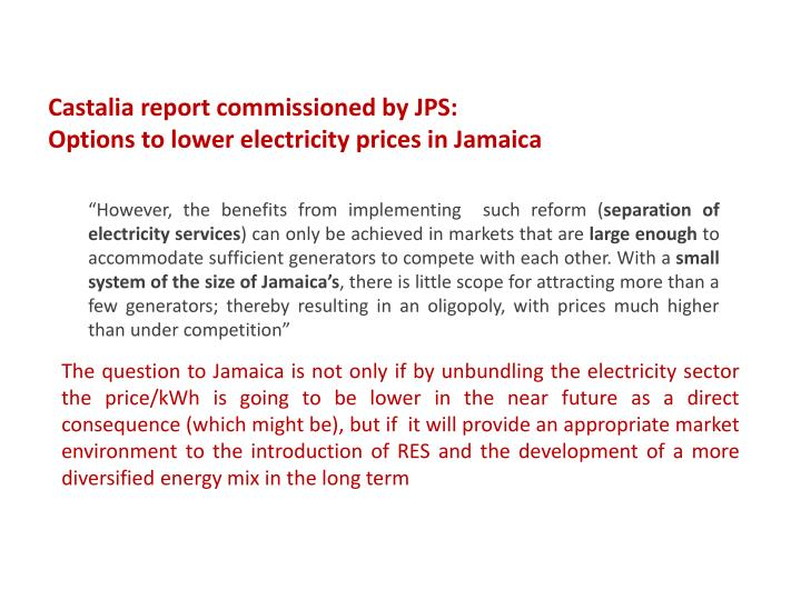 Castalia report commissioned by JPS: