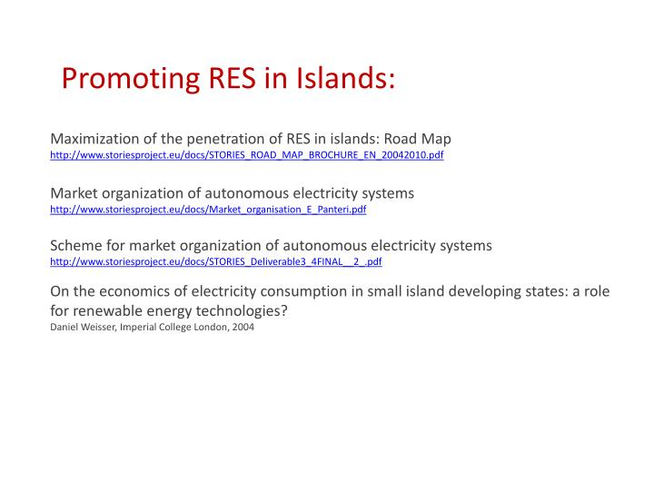 Promoting RES in Islands: