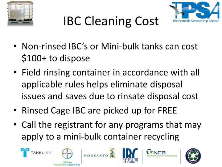 Ibc cleaning cost