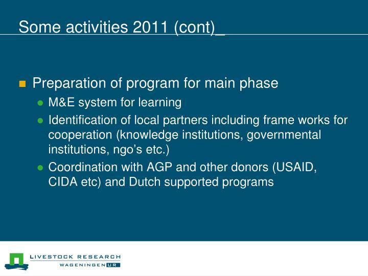 Some activities 2011 (