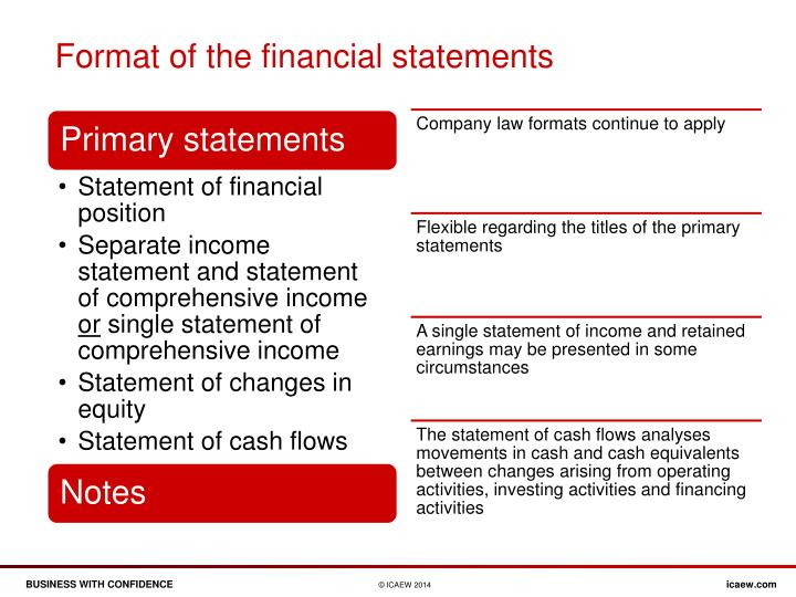 Format of the financial statements