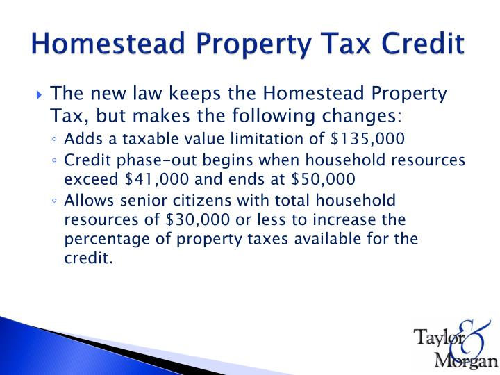 Homestead Property Tax Credit