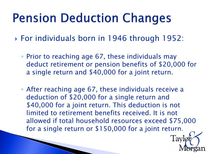 Pension Deduction Changes