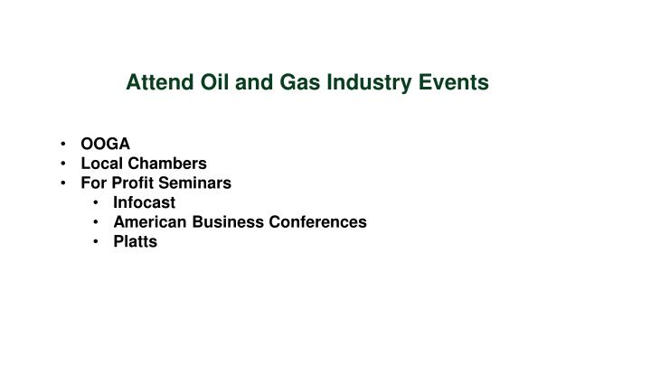 Attend Oil and Gas Industry Events
