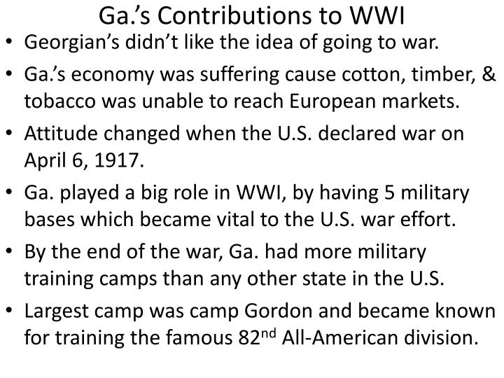 Ga.'s Contributions to WWI