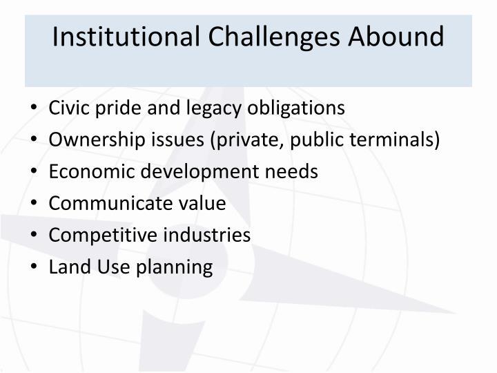 Institutional Challenges Abound