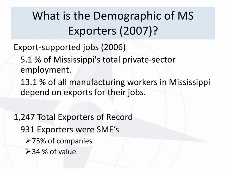 What is the Demographic of MS Exporters (2007)?