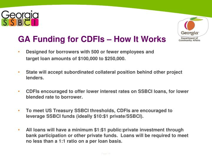 GA Funding for CDFIs – How It Works