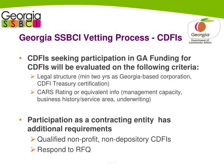 Georgia SSBCI Vetting Process - CDFIs