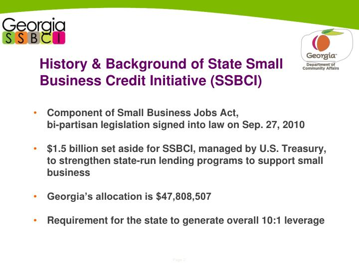 History background of state small business credit initiative ssbci