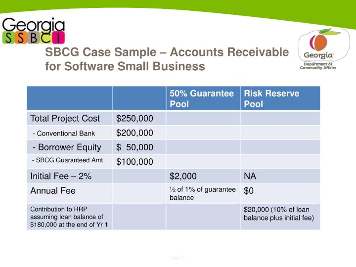 SBCG Case Sample – Accounts Receivable for Software Small Business