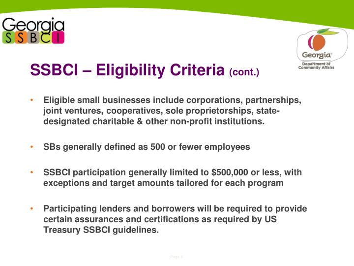 SSBCI – Eligibility Criteria