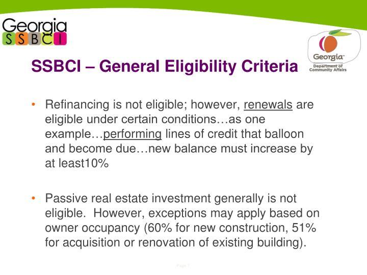 SSBCI – General Eligibility Criteria