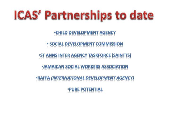 ICAS' Partnerships to date