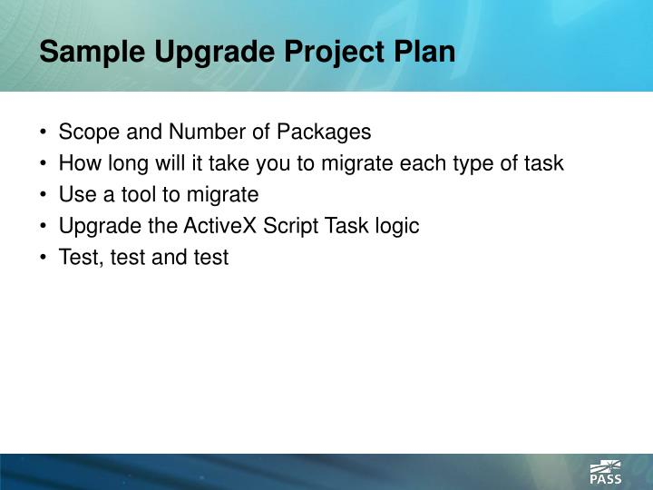 Sample Upgrade Project Plan