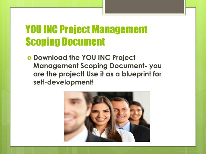 YOU INC Project Management Scoping Document