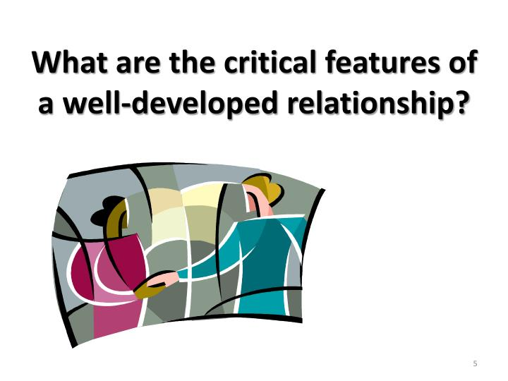 What are the critical features of a well-developed relationship