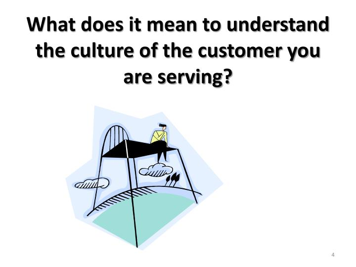What does it mean to understand the culture of the customer you are serving?