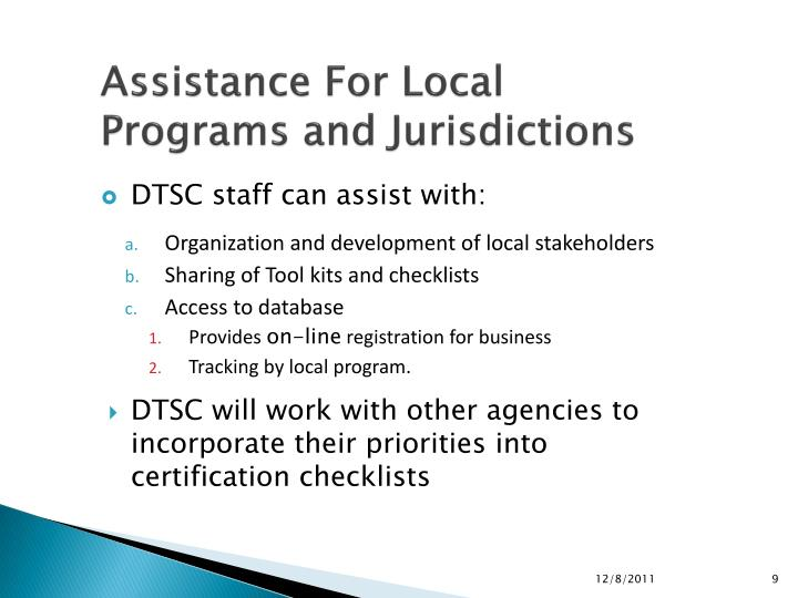 Assistance For Local Programs and Jurisdictions