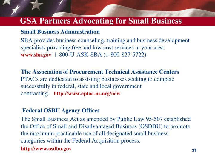 GSA Partners Advocating for Small Business